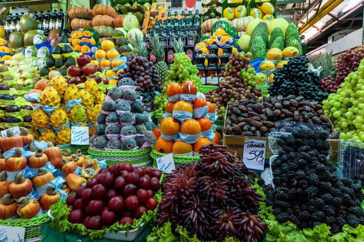 A variety of Brazilian fresh fruits on sale at the historic public under covered Municipal Market