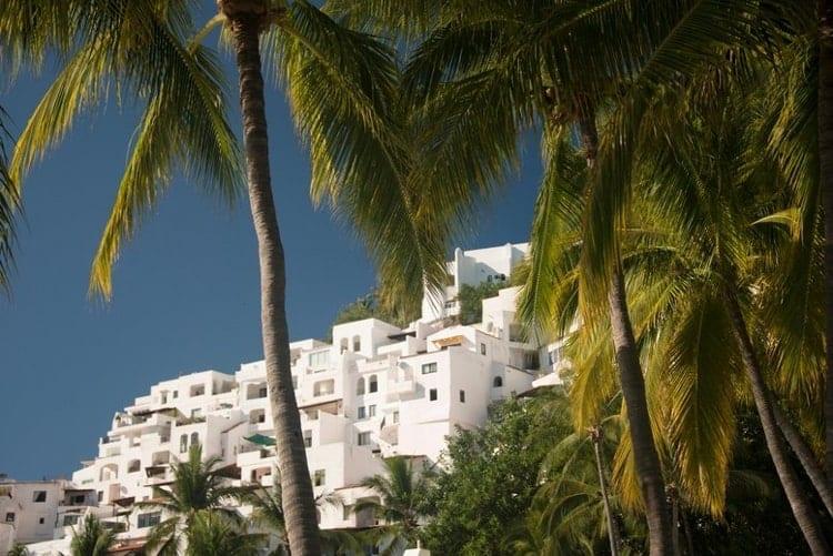 Hillside condominiums at Las Hadas distirct of Manzanillo, Mexico