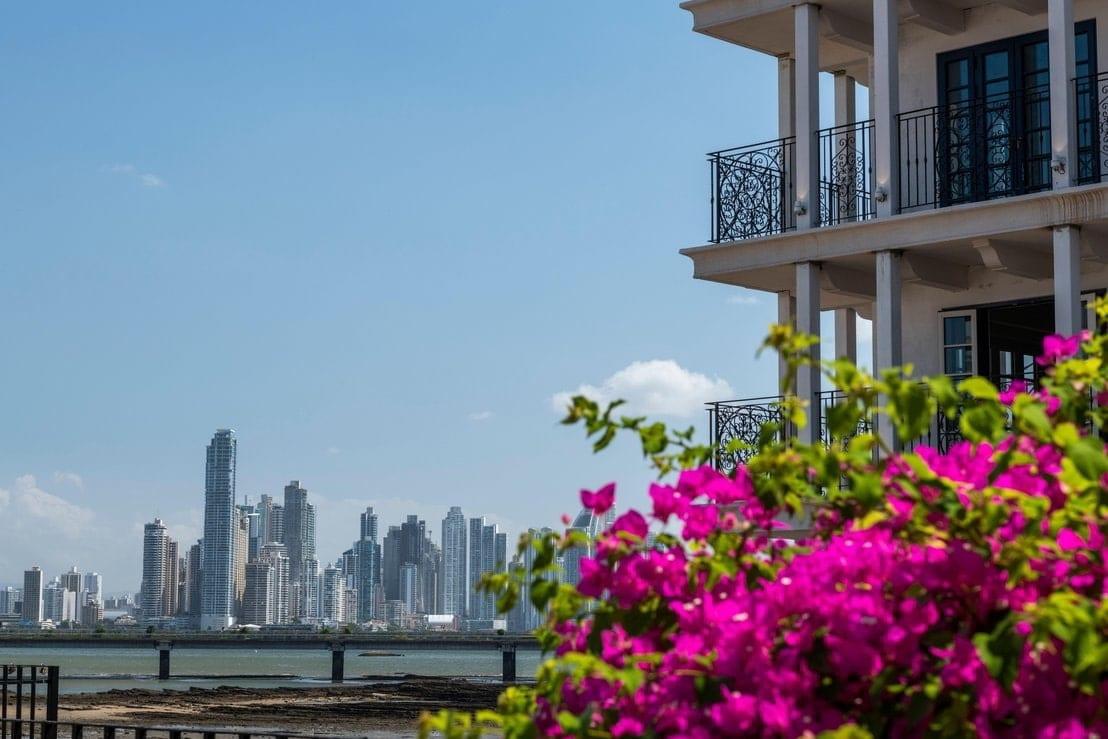 The skyscrapers of Panama city from the San Felipe neighborhood, Casco Viejo, Panama