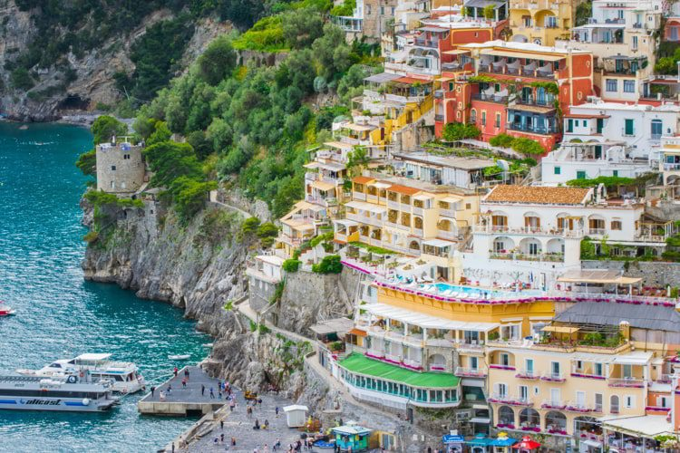 Lovely View from the Cliffside Village Positano, province of Salerno, Italy.