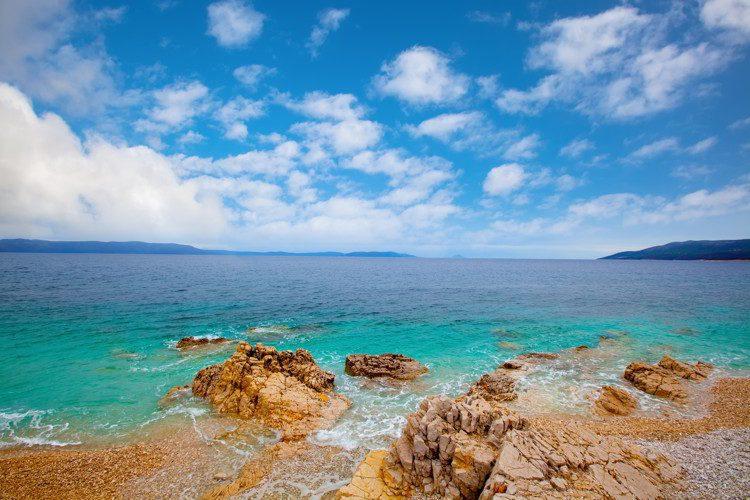 Clear waters under blue sky in the Adriatic coastline, Croatia
