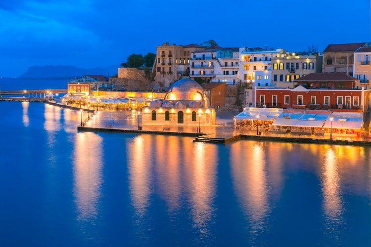 Night Venetian quay, Chania, Crete