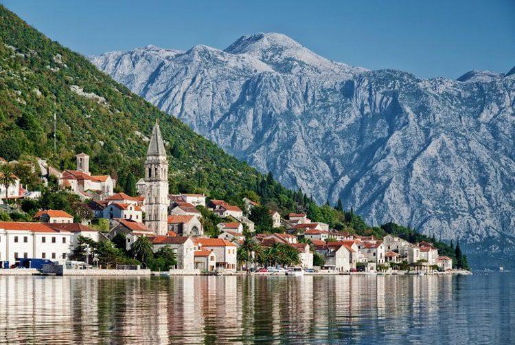 Traditional balkan village mountain landscape by Kotor bay in Montenegro