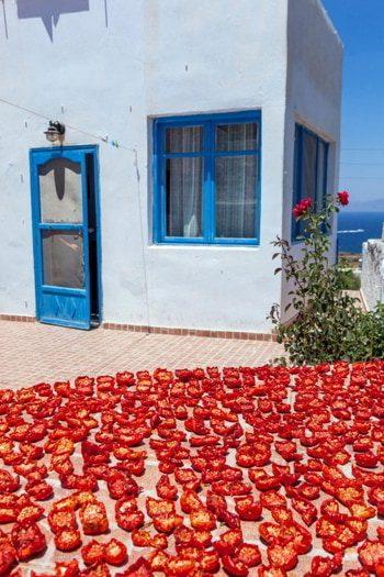 Dried tomatoes on the sun in Greek village Oia, Santorini