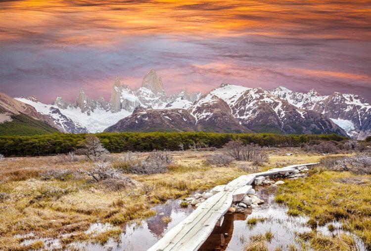 Footbridge in Andes, Patagonia, Argentina