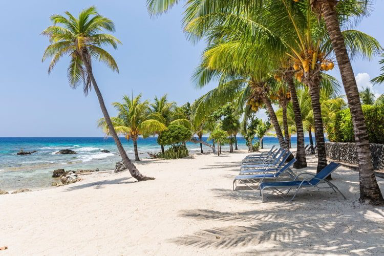 Coconut palm trees and beach chairs line the beautiful sandy beach at Lighthouse Point near the Meridian Resort in Roatan, Honduras