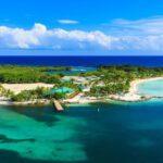 Panoramic view of Roatan Island, Honduras.