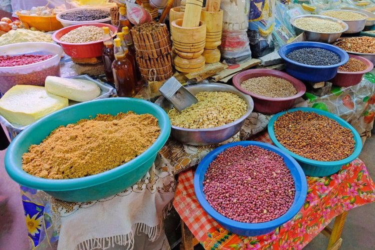 Beans, nuts, corn and seeds at a farmers market in Villarrica, Paraguay