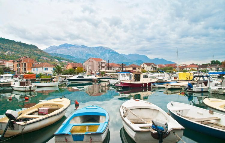 Marina in Tivat on cloudy day, Montenegro