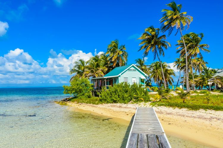 Paradise beach on an island in Belize