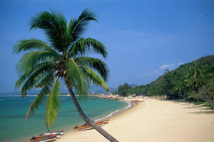 Beach Scene at Tianya-Haijiao Tourist Zone in Hainan Island, China