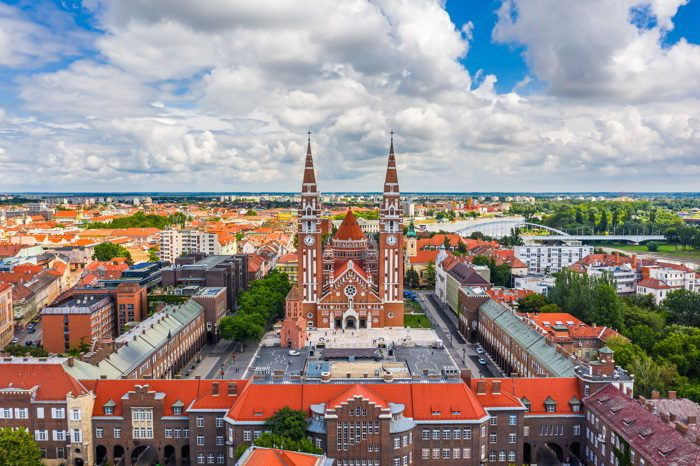 Aerial panoramic view of Szeged, Hungary on a sunny summer day