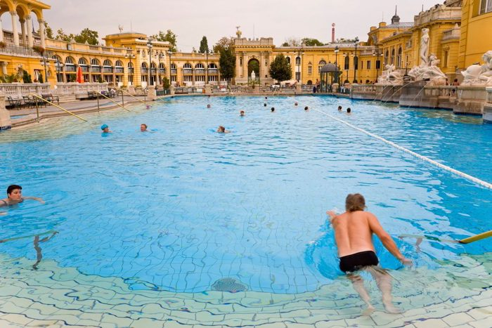 Thermal baths pools Szechenyi Baths Budapest Hungary