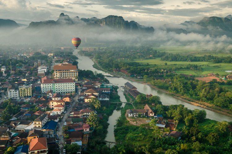 Morning view of Vang Vieng, Northern Laos