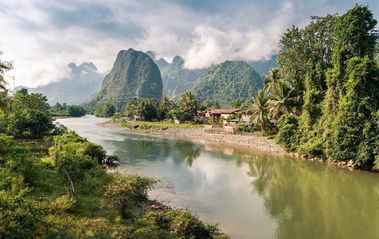 Nam Song River at Vang Vieng, Laos
