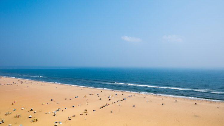 Marina beach in Chennai City, India.