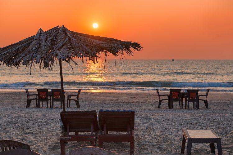Sunset beach in Goa, India