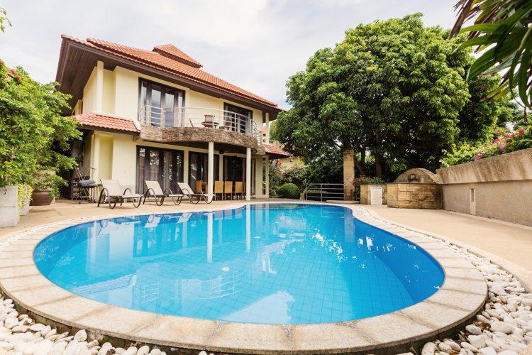 Private swimming pool near luxury villa