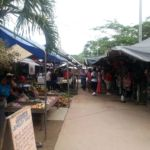Stalls line each aisle of the Macal River market